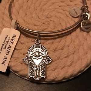 Alex and Ani silver Hand of Fatima Bangle NWT